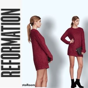 REFORMATION Textured Knit Sweater Dress